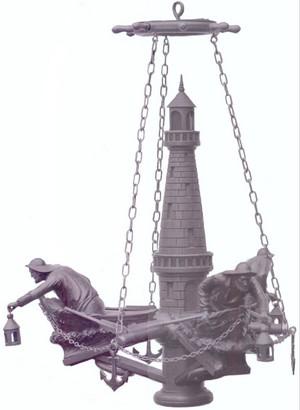 Sculpture Lustre Phare Pecheurs